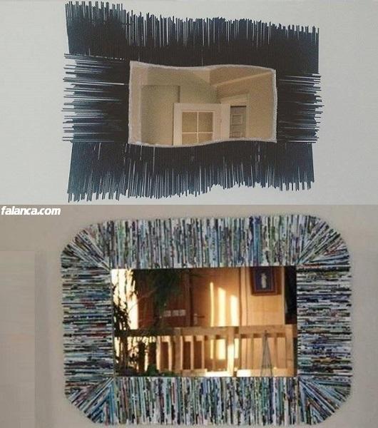 Eski dergilerden dekoratif ayna yapımı
