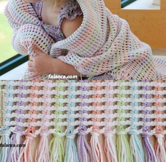 Gökkuşağı bebek battaniyesi yapımı