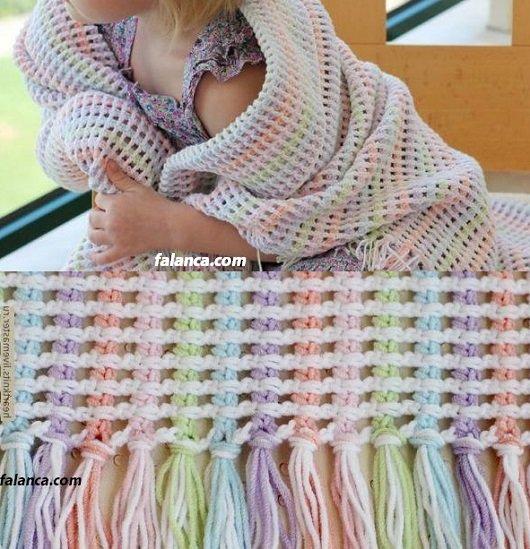Gökkuşağı bebek battaniyesi - 5