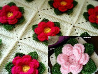 Yapraklı çiçekli battaniye yapılışı