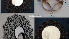 Kağıt rulolarından ayna süsleme modelleri