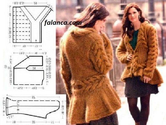 Kahverengi örgü fırfırlı bayan ceket