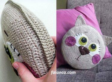 Kedi kırlent yastık örülüşü