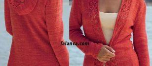 Kırmızı kapşonlu bayan yazlık hırka