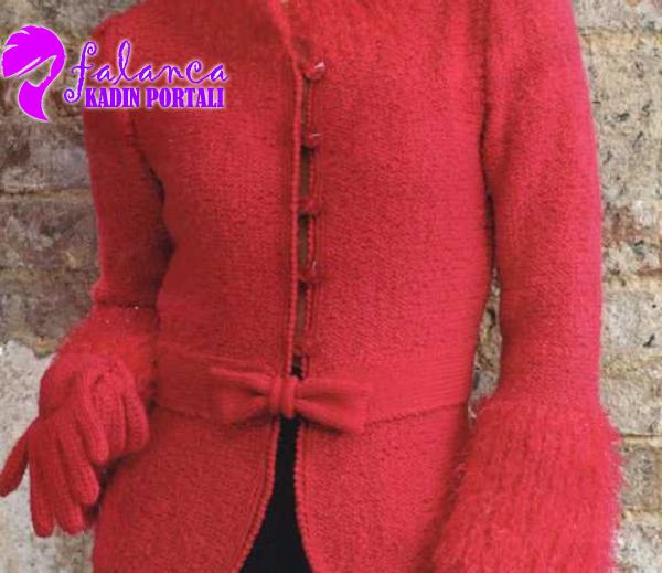 Kırmızı Örgü Ceket