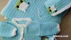 Yeni doğan bebek için örgü kuzu takım