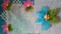 Kurdele çiçek oyası yapılışı
