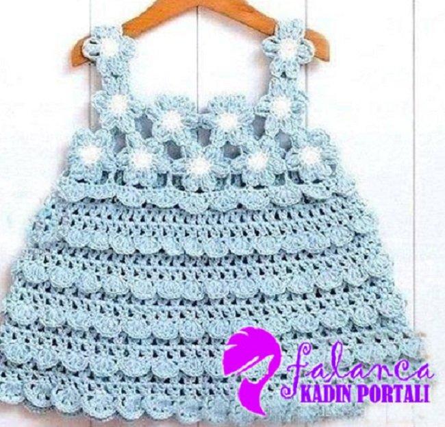 Mavi Cicekli Elbise