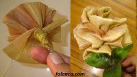 Mısır yaprağından gül yapımı