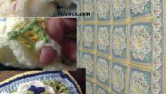Mum çiçeği bebek battaniyesi yapılışı