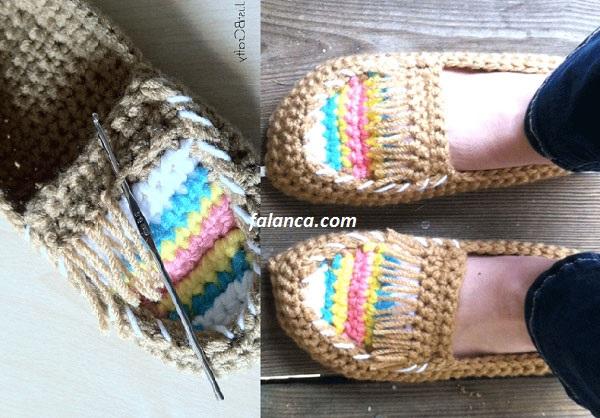 Ayakkabı şeklinde ev içi ayakkabısı örülüşü