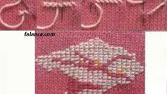 Örgü üzerine renkli ipler ve iğne ile süsleme yapımı