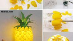 Plastik kaşıklardan ananas gece lambası yapımı