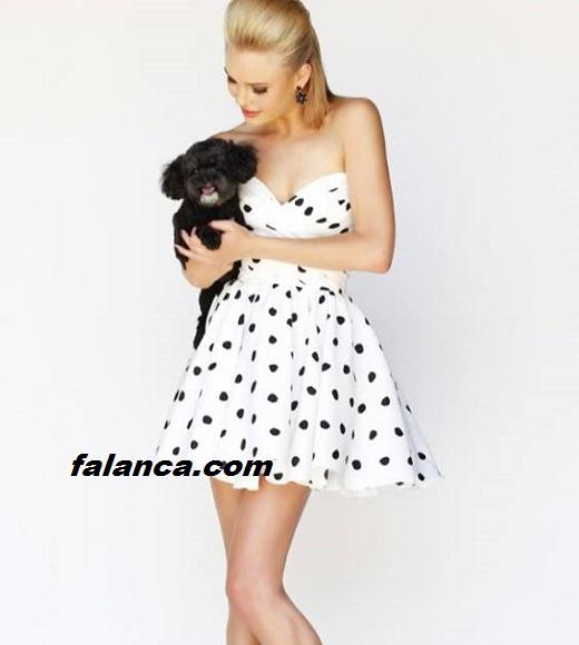 Puanli Elbise Modelleri Siyah Beyaz Noktali 1