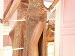 Pullu Elbise Modelleri Uzun Altin Sarisi Elbise