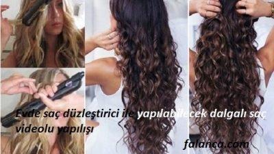 Evde saç düzleştirici ile yapılan dalgalı saç
