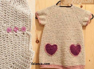 Kalpli tığ işi bebek elbisesi yapılışı