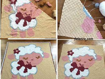 Yandan başlanan kuzu bebek battaniyesi videolu yapımı