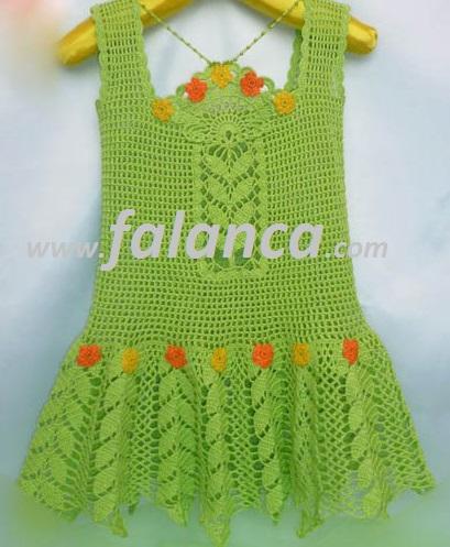 Yeşil Yazlık Çocuk Elbisesi