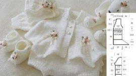 Yeni doğan kız bebek örgü beyaz takım