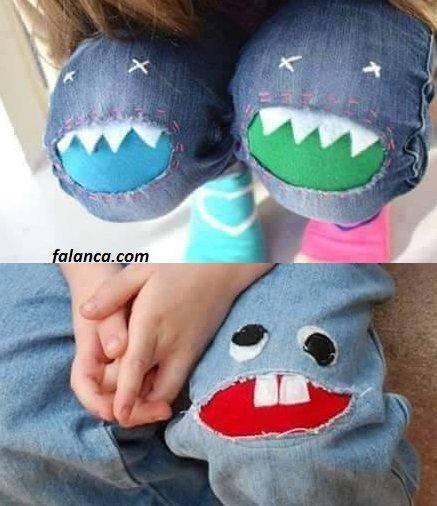 Yırtılan çocuk pantolonu yenileme